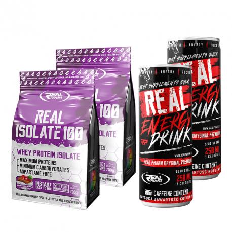 Zestaw Real Isolate 700g 2x + 2x Energy Drink