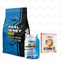 Zestaw Real Whey 2000g + Vitamina D3 60kaps + Max Complete 60tabs