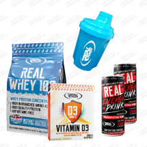 Zestaw Real Whey 700g + Shaker 300ml + Vitamina D3 60kaps + 2x Energy Drink