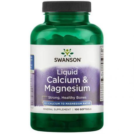 Swanson Liquid Calcium & Magnesium - 100 softgels (data do 31.07.21r.)