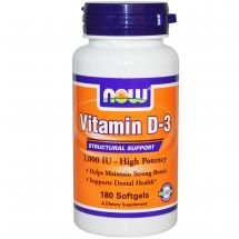 NOW Foods Vitamin D3 1000IU 180 caps.