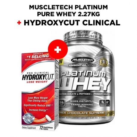 Muscletech Platinum Pure Whey 2.27kg + Hydroxycut clinical 72 caps.