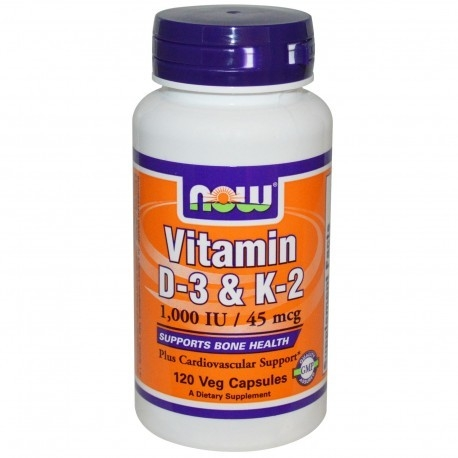 Now Foods Witamina D3 + K2 120 kaps.