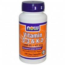 Now Foods Witamina D3 + K2 120 kaps.