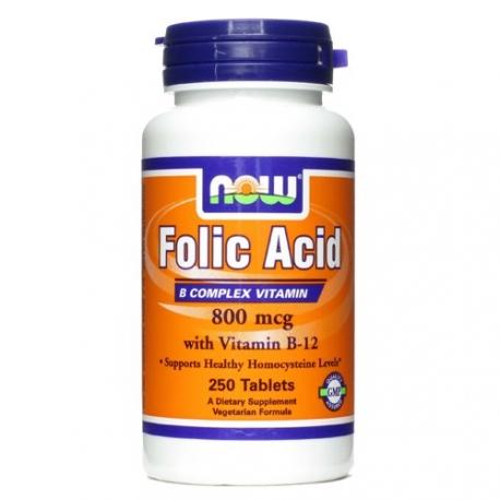 Now Foods Folic Acid and B12 250 tab Kwas foliowy
