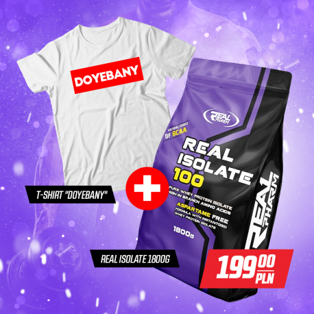 "Zestaw Real Pharm Isolate 100 1800g + T-SHIRT ""DOYEBANY"""
